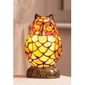 Tiffany Style 1 Light Owl Small Table Lamp