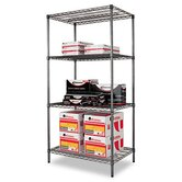 "36"" W x 24"" D Industrial Wire Shelving Starter Kit in Black"