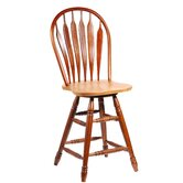 "24"" Steambent Swivel Windsor  Barstool in Cinnamon and Espresso"