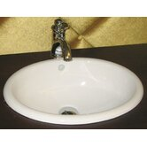 Oval Semi Recessed Ceramic Vessel Sink with Overflow in White