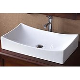 Rectangle Ceramic Vessel Sink without Overflow in White