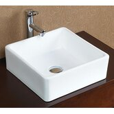 Square Tapered Ceramic Vessel Sink without Overflow in White