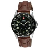 Sport 7 Military Wrist Watch with Black Dial and Brown Strap