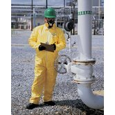 Yellow Tychem® QC Chemical Protection Coveralls With Serged Seams And Front Zipper Closure