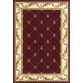 Corinthian Red Fleur-De-Lis Rug