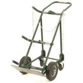 "700 Series Cylinder Hand Truck For Medium To Large Cylinders With 10"" Solid Rubber Wheels And 5"" Rubber Swivel Casters"
