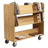 11&quot; Solid Oak Book Truck With 4 Sloped &amp; 1 Flat Shelf
