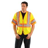 Hi-Visibility Yellow Two Tone Half Sleeve Mesh Vest With Orange Stripes And Silver Reflective Stripes