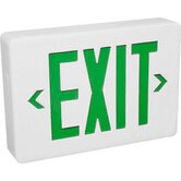 Exit  Sign in White with Green Letters