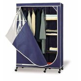 Wardrobe Storage Armoire in Navy with White Trim