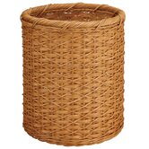 White Round Wicker Wastebasket in Honey