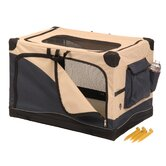 Soft Sided Pet Crate in Navy / Tan
