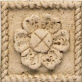 "Accent Statements 4 1/4"" x 4 1/4"" Travertine Flower Insert"