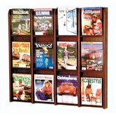 Twelve Magazine Oak and Acrylic Wall Display with Optional Floor Stand