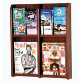 Four Magazine and Eight Brochure Oak and Acrylic Wall Display