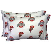 Ohio State Buckeyes Pillow Case Set in White