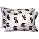 South Carolina Gamecocks Pillow Case Set in White