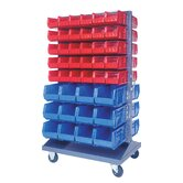 Mobile Double Sided Louvered Rack with Various Bin Sizes (Complete Package)
