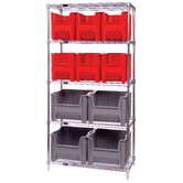 "Q-Stor 5 Shelf Unit with Various Giant Hopper Bins (74"" H x 36"" W x 18"" D) with Optional Mobile Kit"