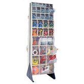 75&quot; Double Sided Floor Stand Storage Unit with Tip Out Bins