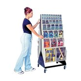 48&quot; Mobile Double Sided Floor Stand Storage Unit with Tip Out Bins