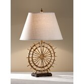 Atticus One Light Table Lamp with Natural Beige Linen Shade in Poly Chrome Iron