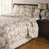Mandarin 4 Piece Quilt Set in Taupe