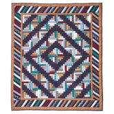 Dusty Diamond Log Cabin Throw Quilt