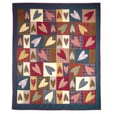 Primitive Hearts Throw Quilt