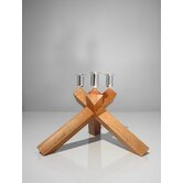 No.2 Cherry Wood, Silver Plated Aluminum Candelabra