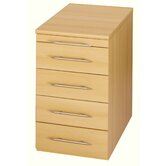 Sun 5 Drawers Desk End Pedestal Filing Cabinet in Beech