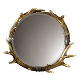 Rustic Faux Stag Horn Round Wall Mirror