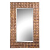 Gavino Hammered Metal Frame Beveled Mirror in Antiqued Gold