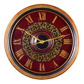 Natara Wall Clock in Deep Red with Black and Gold Accents