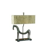 Tamil Horse  Table Lamp in Olive Bronze