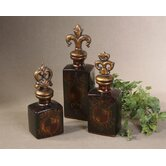 3 Piece Crest Bottle Set in Dark Chocolate Brown