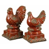 Serka Sculptures in Distressed Tomato Red (Set of 2)