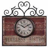 Timeless Bistro Clock in Distressed Aged Red