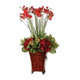 Red Freesia in English Plastic Tole Planter