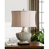 Civitella Table Lamp in Crackled Powder Blue and Sandstone