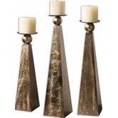 Cesano Mdf and Metal Candle Holder (Set of 3)