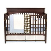 Metro 4 Piece Crib Bedding Set in Blue / White / Chocolate