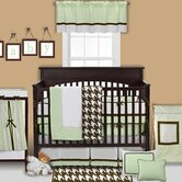 Metro 4 Piece Crib Bedding Set in Lime / White / Chocolate