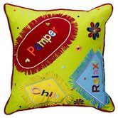 "Sunshine 14"" x 14"" Embroidered Decorative Pillow in Green in Bright Colors"