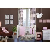 Quilted Circles Pink and Chocolate Crib Bedding Collection