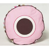 Mod Dots and Stripes Decorative Pillow in Pink and Chocolate