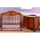 Parker Two Piece Convertible Crib Set with Toddler Rail in Cherry Pine