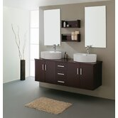 "Enya Double 59.1"" Bathroom Vanity Set in Espresso"