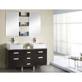 "Maybell Double 55.1"" Bathroom Vanity Set in Espresso"