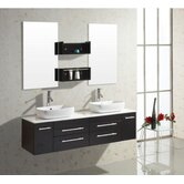 "Augustine Double 58.7"" Bathroom Vanity Set in Espresso/Black"